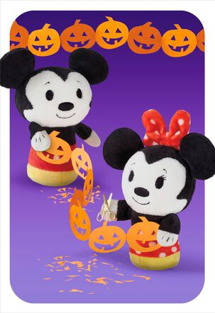 itty bittys® Mickey & Minnie Paper Pumpkin Chain Halloween Card