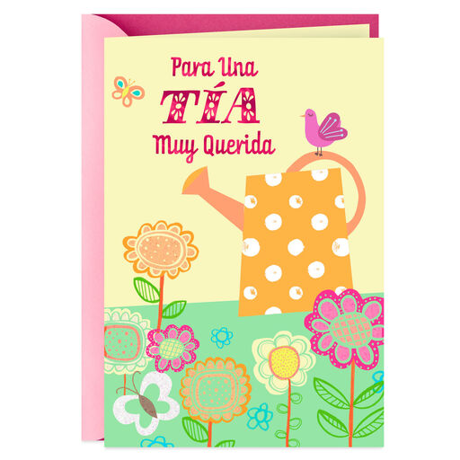Watering Can Spanish Language Mothers Day Card For Aunt