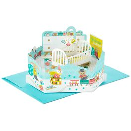 Boy Nursery Pop Up New Baby Card, , large