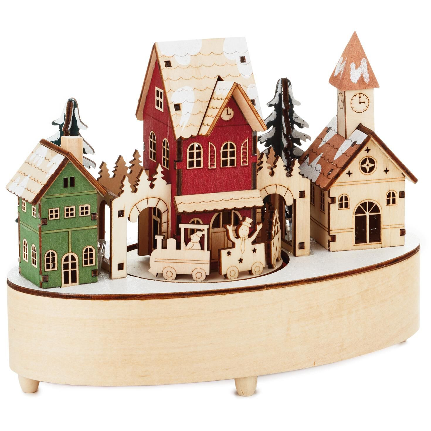 christmas village musical wood figurine with light and motion decorative accessories hallmark - Hallmark Christmas Village