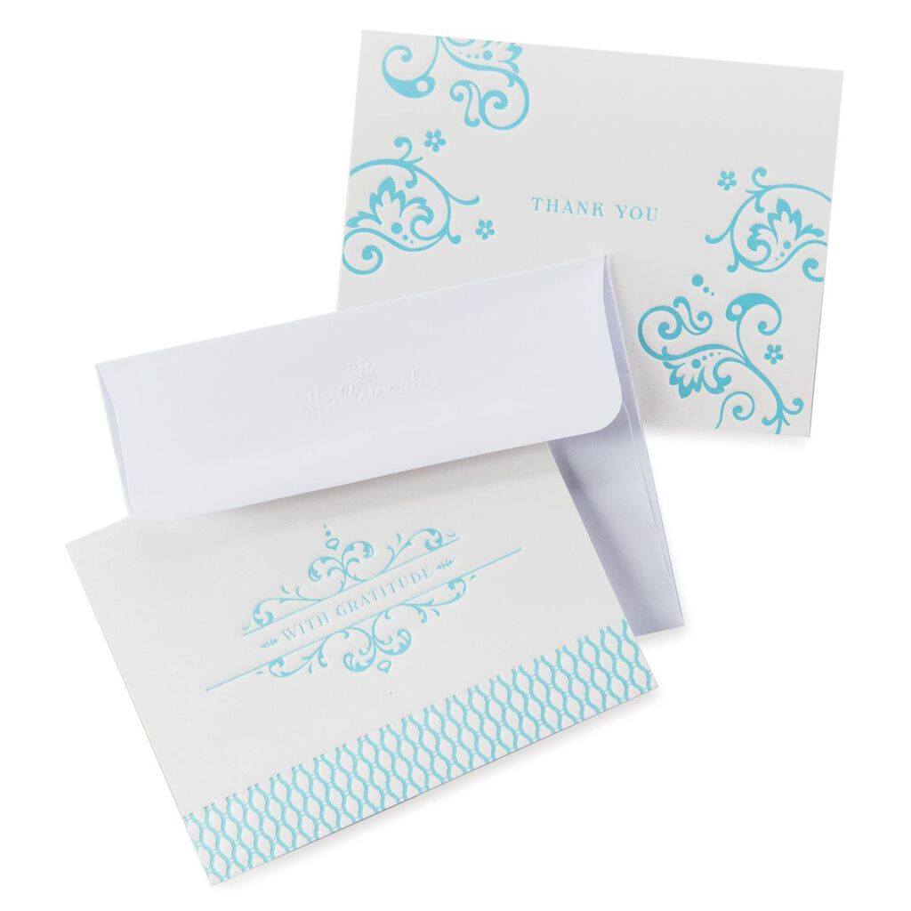 Ornate Blue Scroll Thank You Notes Pack Of 50 Note Cards Hallmark