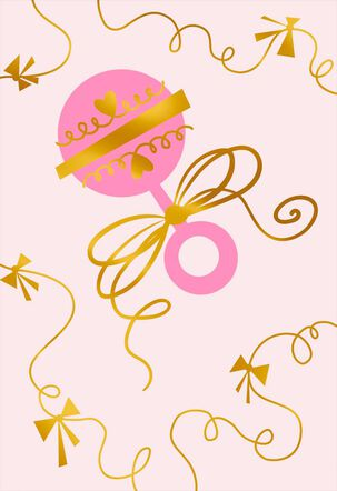 Pink Rattle and Bows Blank New Baby Card