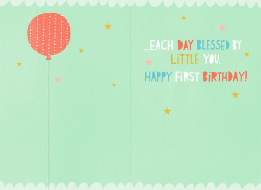 Balloons and Stars First Birthday Card,