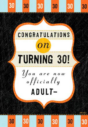 30th = Adult-ish? Funny Birthday Card