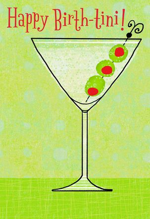 Martini Glass With Olives Birthday Card