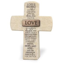 Love Stone Cross - 1 Corinthians 13:4, 7, 13, , large