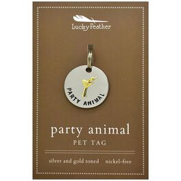 Party Animal Pet Tag in Silver & Gold-Plate, , large