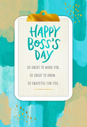 Clipboard You're So Great Boss's Day Card