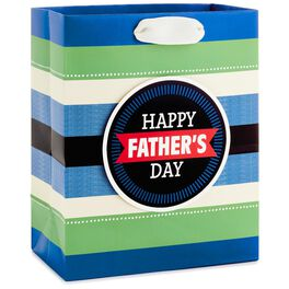 "Happy Father's Day on Stripes Medium Gift Bag, 9.5"", , large"