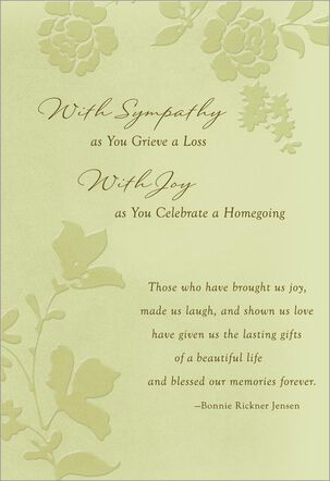 With Sympathy, With Joy Religious Sympathy Card