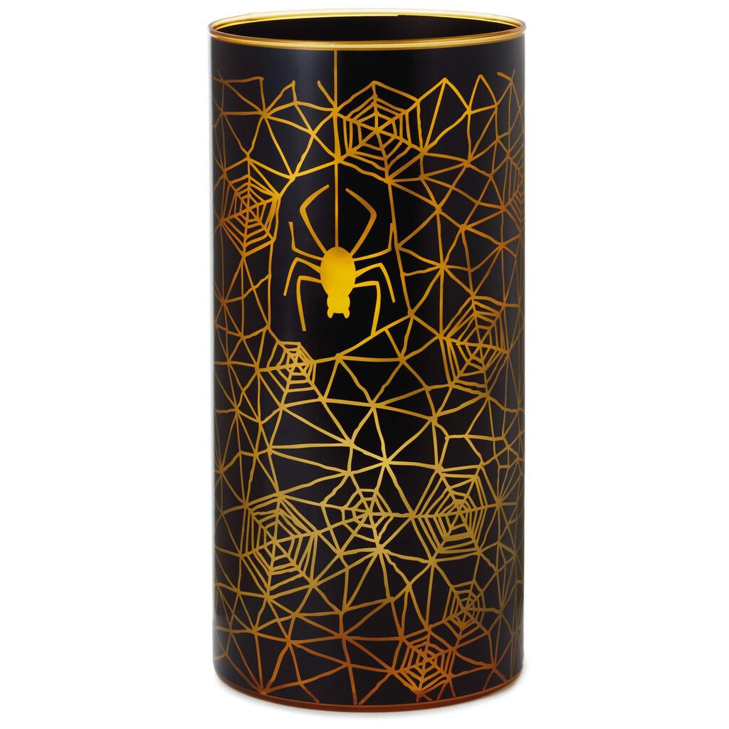 Spiderweb tall glass candle holder