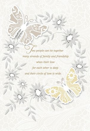 Butterflies and Gems Wedding Card From Us