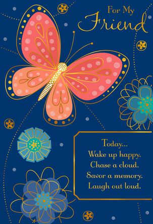 Butterfly on Blue Birthday Card for Friend