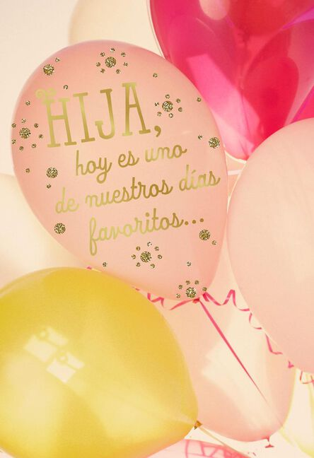 Pink Balloons Spanish Language Birthday Card For Daughter