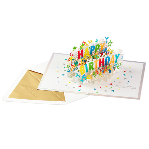 Happy Birthday Card w// 3D word HAPPY in GOLD  by Hallmark Signature