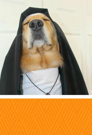 Dog Dressed as a Nun Funny Birthday Card