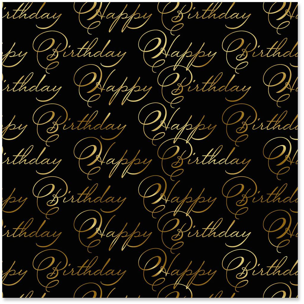 Cursive Happy Birthday Wrapping Paper Roll 225 Sq Ft