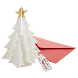 3-D White Christmas Tree Christmas Cards, Box of 5, , large