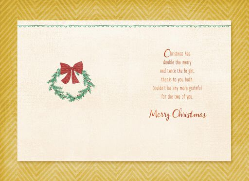 A Pair of Stockings Christmas Card for Son and the One He Loves,
