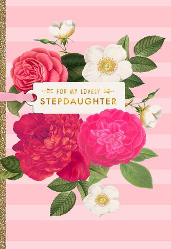Pink flower blooms birthday card for stepdaughter greeting cards pink flower blooms birthday card for stepdaughter mightylinksfo