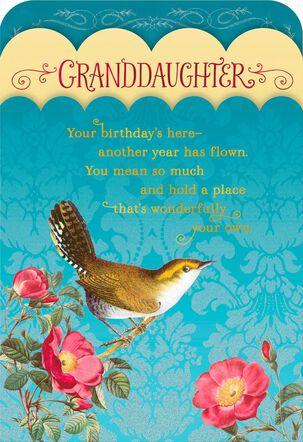 Vintage Bird Granddaughter Birthday Card