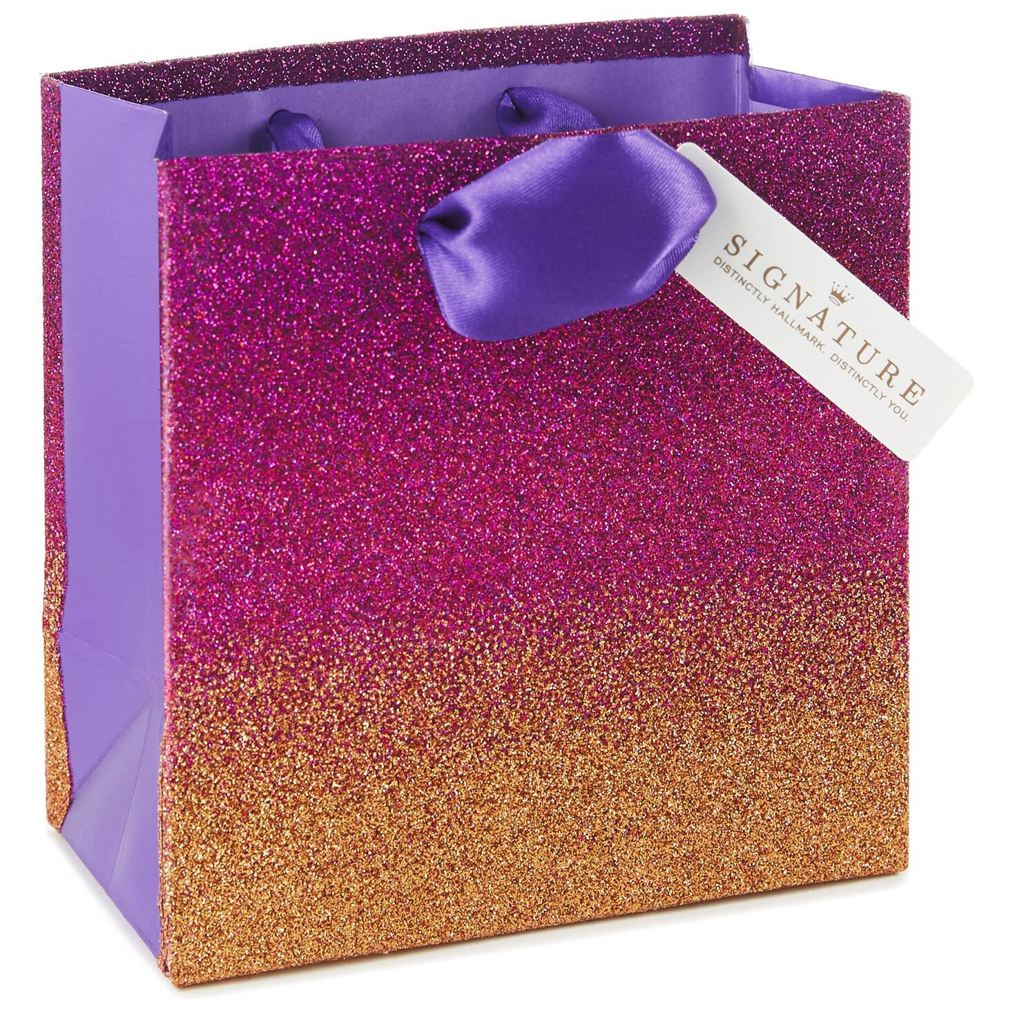 ... Purple/Red Ombre Glitter Small Square Gift Bag 5.5   sc 1 st  Hallmark & Purple/Red Ombre Glitter Small Square Gift Bag 5.5