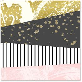 Pink/Gold/Black Mixed Patterns Wrapping Paper, 1 Sheet, , large