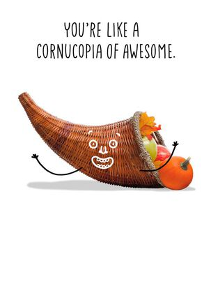 Cornucopia of Awesome Thanksgiving Card