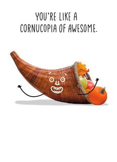 Cornucopia of Awesome Thanksgiving Card,