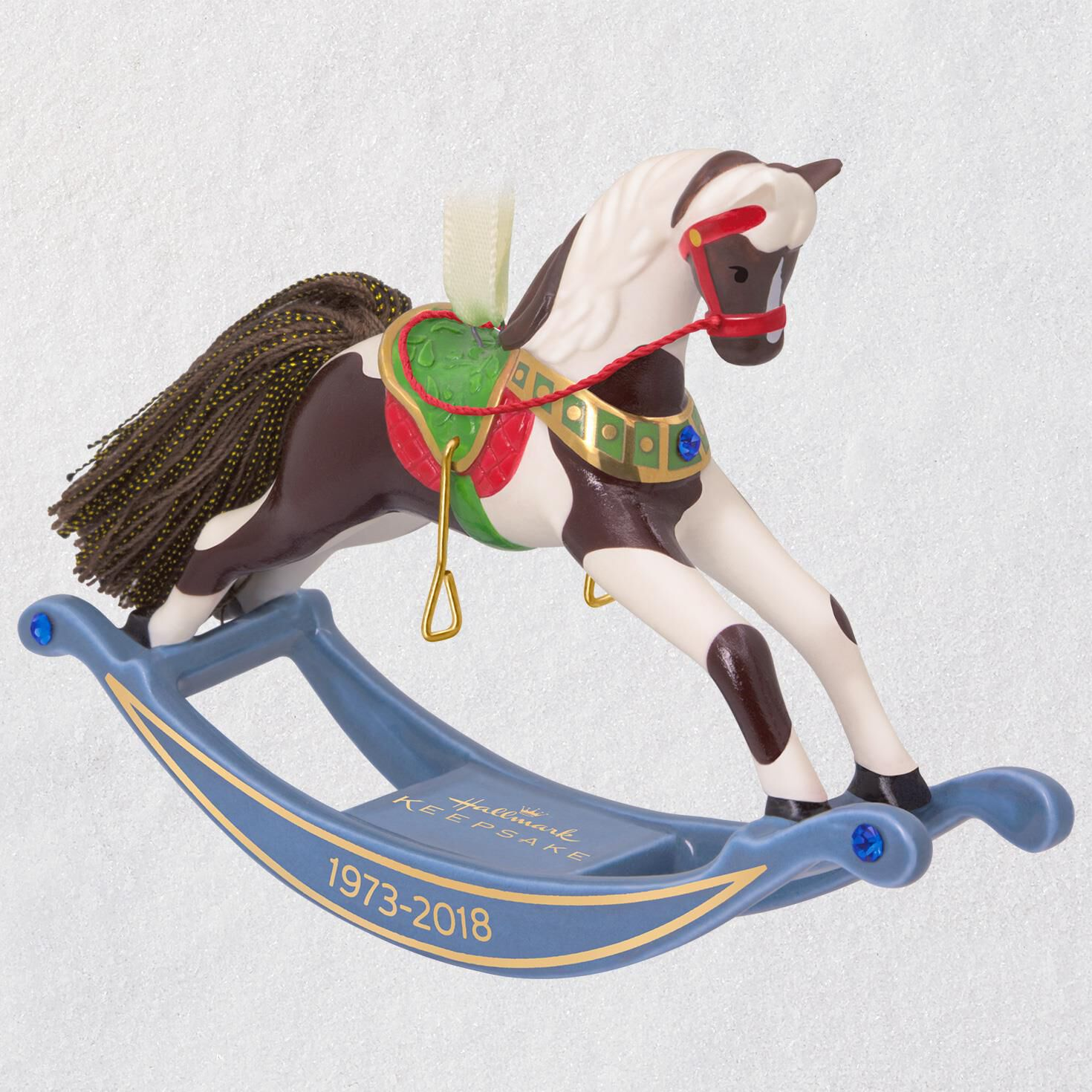 forty five years of memories rocking horse porcelain ornament