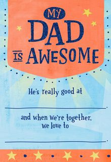 Madlib for Dad Father's Day Card,