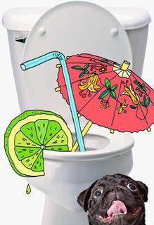 Doggy Umbrella Drink Funny Birthday Card,