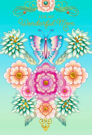 Catalina Estrada Butterfly and Flowers Mother's Day Card