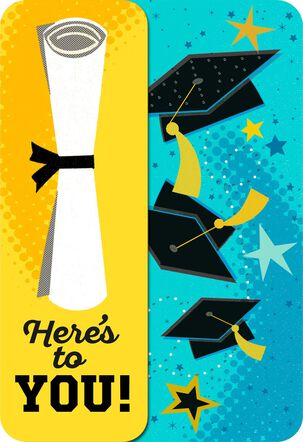 Flying Caps and Diploma Musical Graduation Card With Light