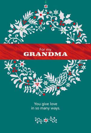 Glitter Wreath for Grandma Christmas Card
