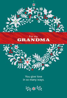 Glitter Wreath for Grandma Christmas Card,