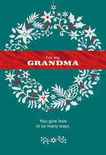 Glitter Wreath for Grandma Christmas Card,