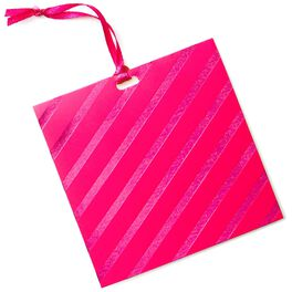 Dark Pink Foil Stripes Gift Tag With Ribbon, , large