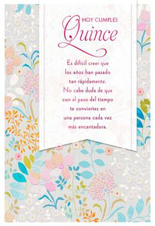 More Lovely Every Year Spanish-Language Quinceañera Card,