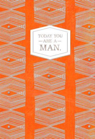 Orange Graphic Pattern Bar Mitzvah Card