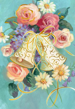 Vintage Bells and Flowers Blank Wedding Card