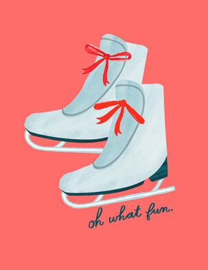 Oh What Fun Ice Skates Holiday Card