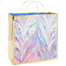 "Purple Marble Large Square Gift Bag, 10.5"", , large"