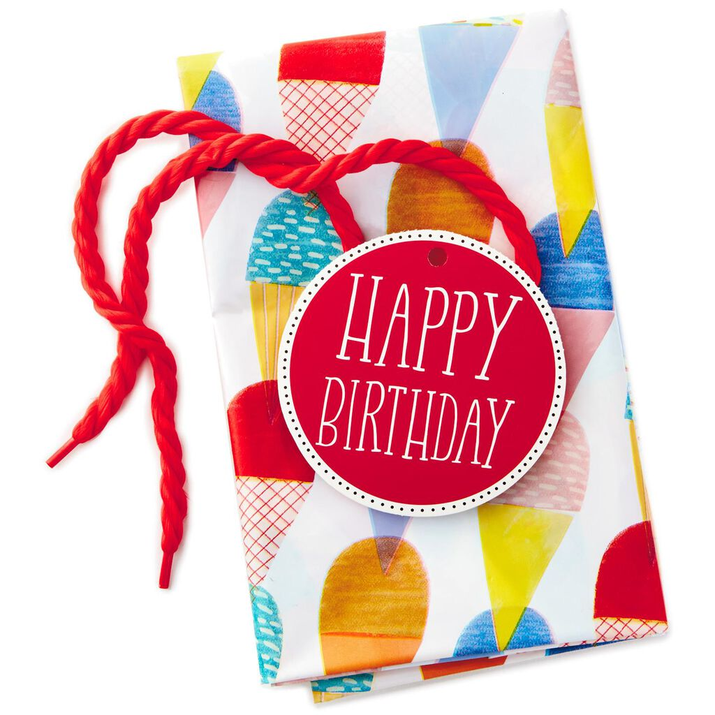 Birthday Ice Cream Plastic Giant Gift Bag With Tag And Tie
