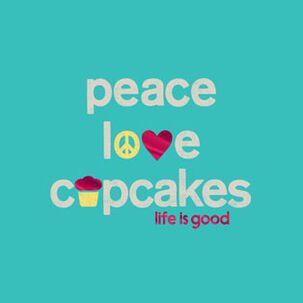 Peace Love Cupcakes Birthday Card