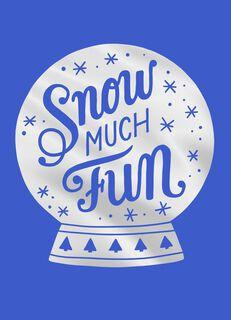 Blue Stencil Snow Globe Christmas Card,