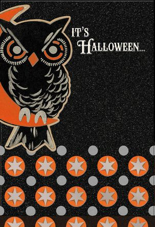 Glittery Owl on the Lookout Halloween Card