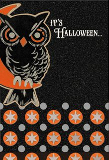 Glittery Owl on the Lookout Halloween Card,