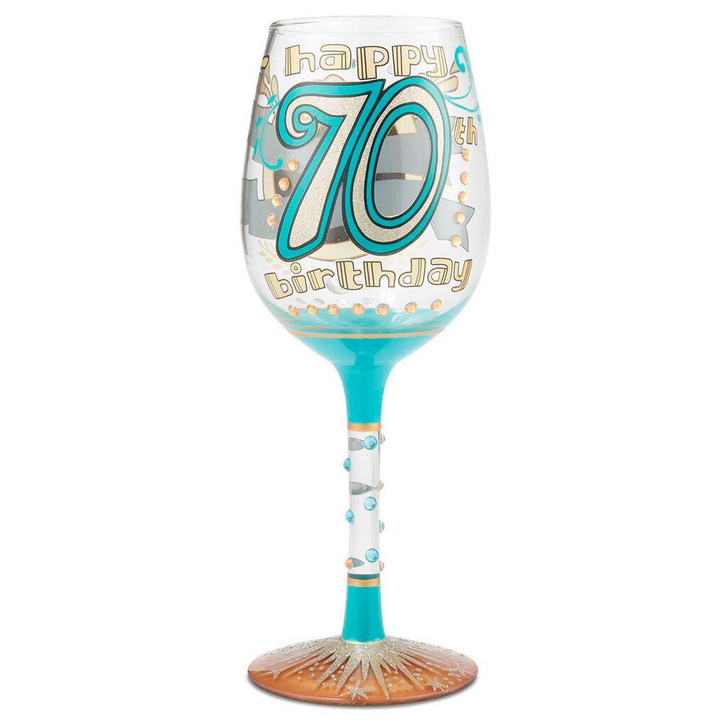 LolitaR 70th Birthday Handpainted Wine Glass 15 Oz