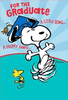 Snoopy Happy Dance Pop-Up Graduation Card,